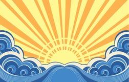 Ondas abstratas do mar. ilustração do vetor