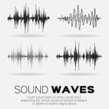 Ondas acústicas de la música del vector fijadas Fotografía de archivo libre de regalías