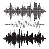 Ondas acústicas de la música del vector fijadas Fotografía de archivo