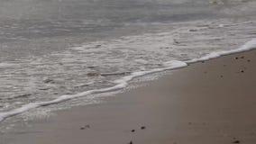 Ondas apacibles que se rompen en la playa en día embotado almacen de metraje de vídeo