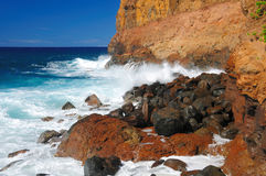 Ondas apagado de la playa de Keokea fotografía de archivo
