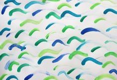 Ondas azuis e verdes do fundo, aquarelas Fotografia de Stock