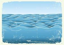 Ondas azuis. Imagem do grunge do vetor do mar ilustração stock