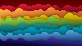 Ondas coloridas da nuvem dos desenhos animados que mostram o movimento de ondulação vídeos de arquivo