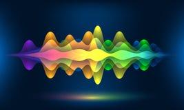 Ondas coloridas da voz ou frequência sadia do movimento Fundo da energia da banda sonora ou visualização abstrato da cor da músic ilustração do vetor