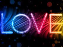 Ondas coloridas de la palabra del amor del día de tarjeta del día de San Valentín Fotografía de archivo