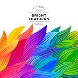 Ondas coloridas del vector Fronteras hermosas del arco iris Fotografía de archivo
