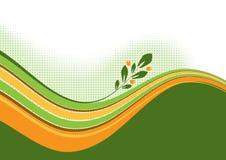 Ondas con la ramificación floral ilustración del vector