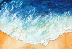 Ondas da aquarela do oceano na costa Seascape ilustração royalty free