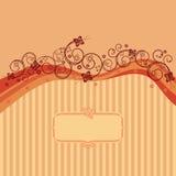 Ondas da laranja, redemoinhos e cartão das borboletas Fotografia de Stock Royalty Free