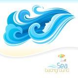 Ondas da menina e do azul do mar ilustração do vetor
