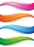 Ondas das bandeiras coloridas ajustadas ilustração stock