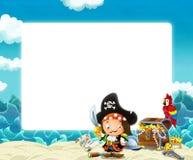 Ondas de agua y marco de la playa con el loro y el tesoro del pirata que luchan libre illustration