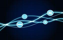 Ondas de iluminação azuis Ícones dos métodos de uma comunicação Imagem de Stock Royalty Free