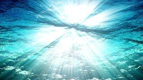 Ondas de oceano da animação dando laços de alta qualidade do plâncton subaquático Raios claros que brilham completamente Grande f video estoque