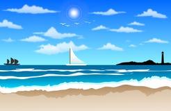 Ondas de oceano na praia ilustração do vetor