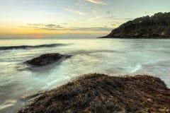 Ondas de oceano que lavam as rochas cobertas com as algas fotografia de stock
