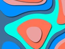 Ondas de papel del extracto de la historieta del arte El papel talla el fondo Plantilla moderna del diseño de la papiroflexia Fon imagenes de archivo
