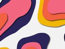 Ondas de papel del extracto de la historieta del arte El papel talla el fondo Plantilla moderna del diseño de la papiroflexia Fon imagen de archivo