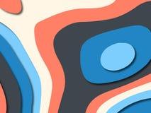 Ondas de papel del extracto de la historieta del arte El papel talla el fondo Plantilla moderna del diseño de la papiroflexia Fon fotos de archivo libres de regalías
