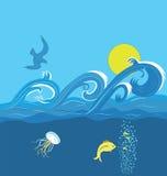 Ondas del mar ilustración del vector