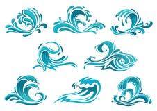 Ondas del mar e iconos azules de la resaca Imágenes de archivo libres de regalías