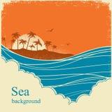 Ondas del mar Ejemplo del horizonte del paisaje marino en el cartel viejo del vintage stock de ilustración