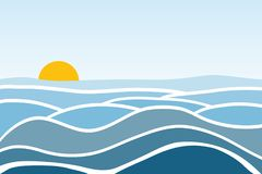 Ondas del mar Salida del sol contra la perspectiva del mar y de las ondas stock de ilustración