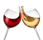 Ondas del vino blanco rojo y Fotos de archivo