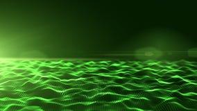 Ondas digitales verdes abstractas con la llamarada ligera