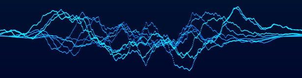 Ondas din?micas abstractas Visualizaci?n grande de los datos Elemento de la onda ac?stica Equalizador de la tecnolog?a para la m? libre illustration