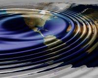 Ondas do mapa de mundo Imagens de Stock