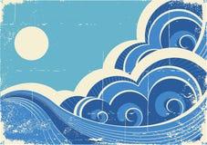 Ondas do mar. Grunge ilustração royalty free