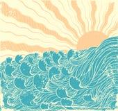 Ondas do mar. Grunge ilustração stock