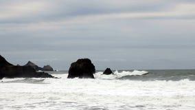 Ondas do moderado que batem a costa de Califórnia do norte das rochas video estoque