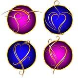 Ondas douradas dos corações Fotografia de Stock Royalty Free