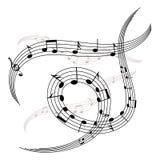 Ondas e espirais de notas e de pauta musical da música Imagens de Stock