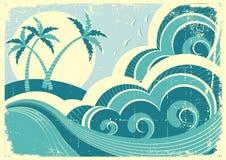 Ondas e isla del mar. Foto de archivo libre de regalías
