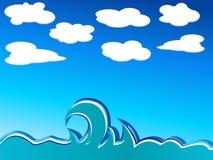 Ondas e nuvens ilustração royalty free