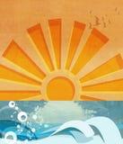 Ondas e o Sun Imagem de Stock Royalty Free