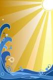 Ondas e Sun Imagens de Stock Royalty Free
