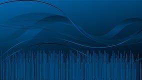 Ondas em azul, fundo no fundo azul, dinâmico, fundo da tecnologia ilustração royalty free