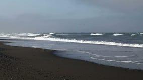 Ondas em povos de Sandy Beach Overcast Day No vídeos de arquivo