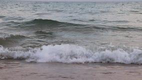 Ondas en el mar Ondas del mar Pequeña playa de la arena de las ondas Por la tarde en la playa Pequeñas ondas del mar y playa aren almacen de metraje de vídeo