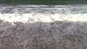 Ondas en la playa arenosa almacen de metraje de vídeo
