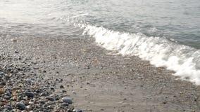 Ondas en la salida del sol de la playa almacen de video