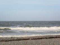 Ondas grandes en el mar, el Mar del Norte en el movimiento fotografía de archivo