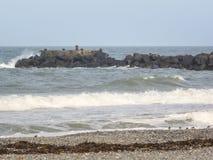 Ondas grandes en el mar, el Mar del Norte en el movimiento foto de archivo libre de regalías
