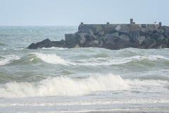 Ondas grandes en el mar, el Mar del Norte en el movimiento fotografía de archivo libre de regalías
