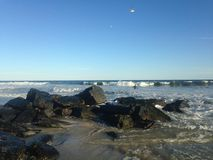 Ondas grandes na praia de Lido, Long Island Fotografia de Stock